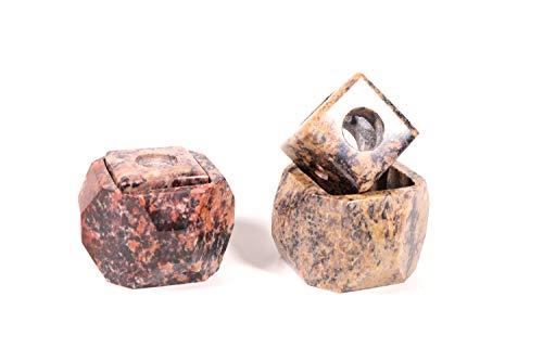 Zunftbedarf.de Kerzenständer Kerzenhalter Naturstein Speckstein Stein 2-er Set