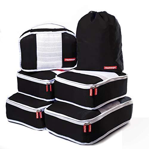 Hashtage® - Organizador de Equipaje - Set de 6 Bolsas, Organizadores de Maleta, Cubos de Embalaje, Ligeros, Negro