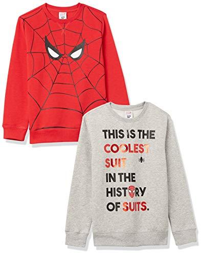 Spotted Zebra Disney Star Wars Fleece Crew Sweatshirts Sudadera con Capucha, Paquete de 2 Ojos Marvel Spider-Man, 11-12 años