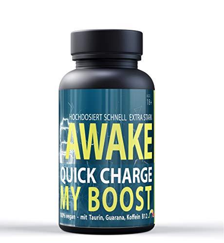 Awake Quick Charge MYBOOST mit Koffein, Guarana, Vitamin B12 und Taurin - 120 Tabletten - Vegane Energie - die Alternative zu Koffeintabletten und Energy Drinks