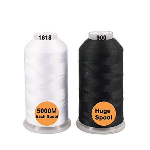 New brothreads -32 Options- Various Assorted Color Packs of Polyester Embroidery Machine Thread Huge Spool 5000M for All Embroidery Machines - 1Black+1White