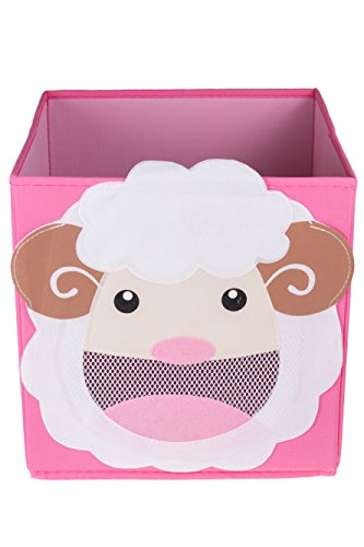Clever Creations Cute Smiling Sheep Collapsible Toy Storage Organizer Toy Box Folding Storage Cube for Kids Bedroom | Perfect Size Storage Cube for Books, Kids Toys, Baby Toys, Baby Clothes