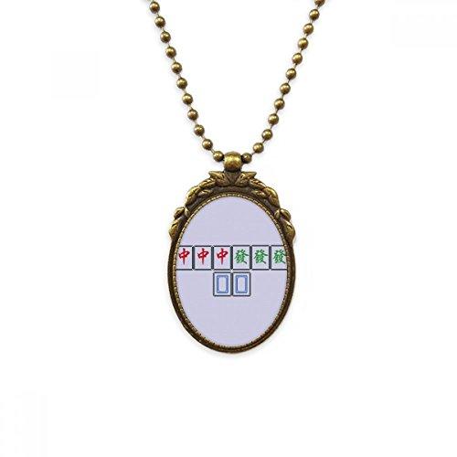 DIYthinker Junior DREI Chiefs Mahjong Fliesen antike Messing Halskette Weinlese-Anhänger Schmuck Deluxe Geschenk