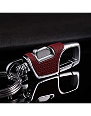 LanMa Key Chain 2 Key Rings Stainless Combination of Luxury Car Business Keychain, Power & Elegance Key Holder for Men and Women -Red