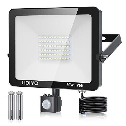 50W LED Strahler mit Bewegungsmelder, 5000LM LED Fluter mit Bewegungsmelder, LED Aussenleuchte mit Bewegungsmelder, 1,5 m Stromkabel, IP66 Wasserdicht, Superhell 6500K