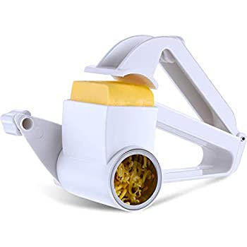 Rotary Cheese Grater Manual Handheld Cheese Grater with Stainless Steel Drum for Grating Hard Cheese Chocolate Nuts Kitchen Tool  White
