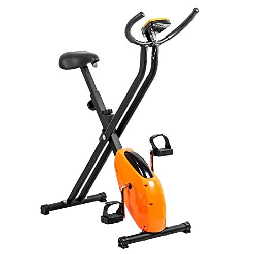VanTen Bicicleta Estática Plegable Bicicleta Fitness con Pantalla LCD Asiento con Altura Ajustable