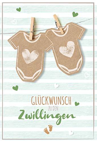 Glückwunschkarte Geburt Zwillinge, Karte Geburt Zwillinge, Holzklammern und Stramplern | DIN B6 | 17,1 x 11,7cm | inkl. Umschlag, Motiv: Zwillinge