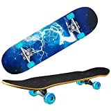 Skateboards for Beginners Kids Teens Adults with Light Up Wheels,31''x 8'' Complete Standard Fortnite Skateboard for Boys Girls,9 Layer Maple Double Kick Deck Cruiser Skateboard for Sports & Outdoors