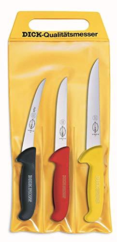 """F. DICK Messer Set ErgoGrip 3-teilig (Ausbeinmesser 13 cm """"flexibel"""", A. Messer 15 cm """"breit"""", Stechmesser 18 cm, HRC 56°) 82551000 """"Zerlegemeisterschaft"""""""