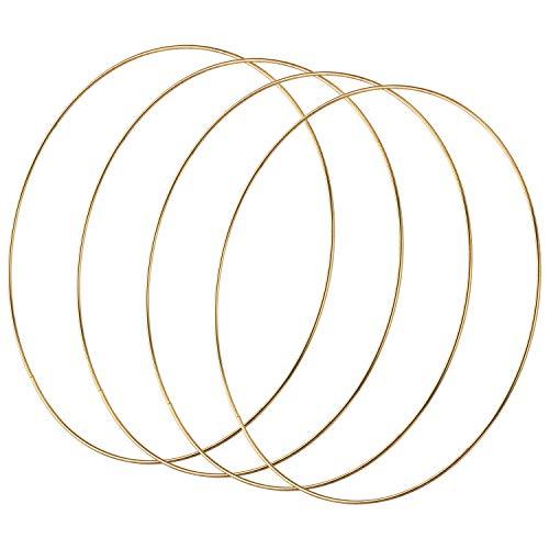 SAVITA 4 Stück 30cm Gold Metallring Creolen für Hochzeit Kranz Dekor, Traumfänger Handwerk DIY