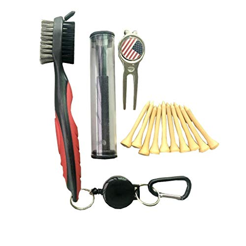 Lightahead 5 in 1 Golf Club Groove Cleaner Brush Set,with Golf Club Groove Sharpener,Divot Repair & Magnetic Ball Marker & 10 Wooden Tee's, for Golfers