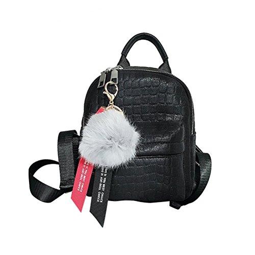 BESTOYARD Mini PU Leder Rucksack, klein Leder Damenrucksack Schulranzen mit Pelz Kugel für Kinder Mädchen (schwarz)