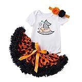 Caixiaofei ベビーハロウィン 衣装 ハロウィン仮装 子供 コスチューム カボチャ 半袖ワンピースベビー服女の子 ハロウィンコスプレキッズ チュチュスカート 赤ちゃん用 3点セット