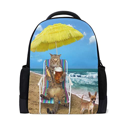 Ahomy Reise-Laptop-Rucksack mit Katzen-Regenschirm, Fisch-Strandkorb, Meeres-Hund, Tagesrucksack, Schultasche für Mädchen/Jungen/Teenager
