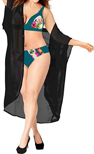 LA LEELA Disfraces De Fiesta De Halloween Corta De La De del Verano De Las Mujeres del Verano Que Cubre La Cubierta Superior De La Rebeca del sólida Kimono Llanura del MantóN De La Gasa Negro_A470