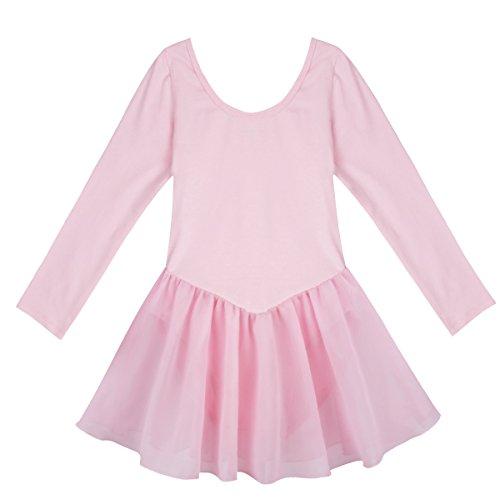IEFIEL Vestido Maillot de Ballet Danza Clásico para Niña Maillot de Danza Ballet Gimnasia Leotardo con Falda Ropa para Ballet Manga Larga Rosa 5-6 Años