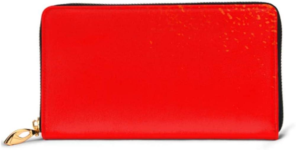 Fashion Handbag Zipper Wallet Metallic Red Background Foil Paper Illustration Phone Clutch Purse Evening Clutch Blocking Leather Wallet Multi Card