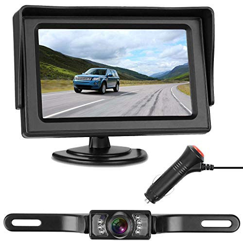 LeeKooLuu Backup Camera and 4.3 Monitor Single Power Kit IP68 Waterproof 150°Viewing Angle Rear View Camera Super Night Vision Parking Lines for Car/RV/Truck/Pickup/Van