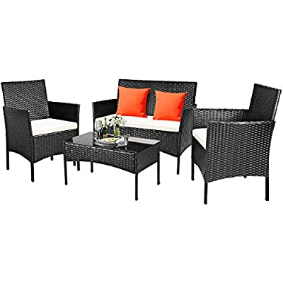 Tangkula 4 PCS Patio Furniture Set, Outdoor Wicker Conversation Set with Tempered Glass Coffee Table, Rattan Sofa & Chairs Set with Seat Cushions for Backyard, Garden, Poolside (1, Beige)