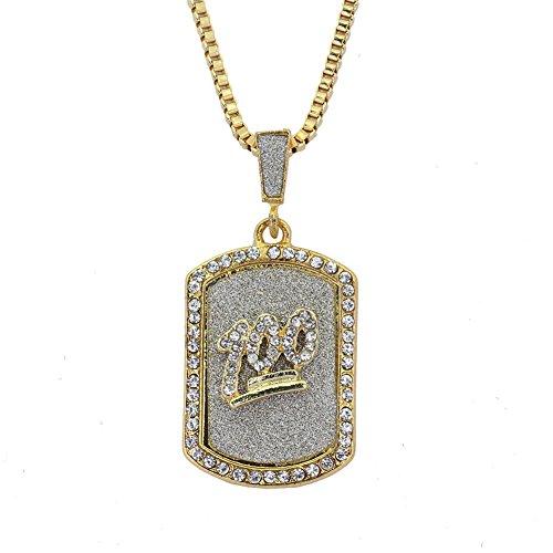 Joielavie Halskette mit Anhänger mit Hundemarke, Nummer 100, mit Golden, Strass, Diamanten, Simulation, Kette, Schmuck, Hip Hop Bling Geschenk Herren