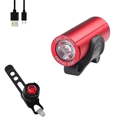 Luz de bicicleta luz de bicicleta usb recargable e Mini faros de la bicicleta USB Carga de carga LED de la luz delantera trasera de aleación de aluminio trasero Linterna impermeable