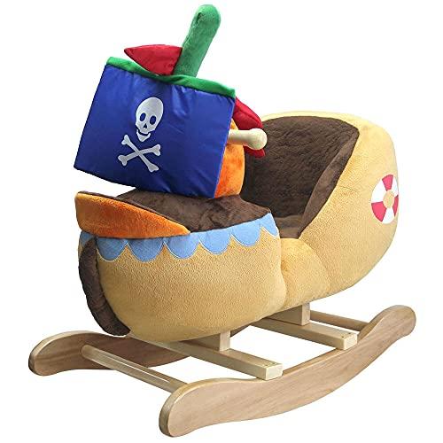 giordanoshop Dondolo Nave Pirata in Peluche e Legno per Bambini