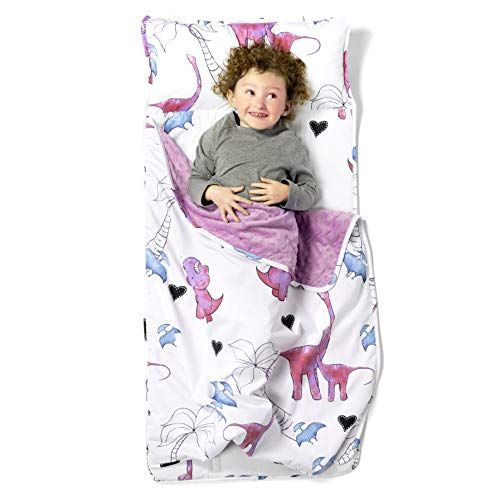 "JumpOff Jo – Toddler Nap Mat – Children's Sleeping Bag with Removable Pillow for Preschool, Daycare, and Sleepovers – Original Design: ""Pink Dino"" - 43 x 21inches"