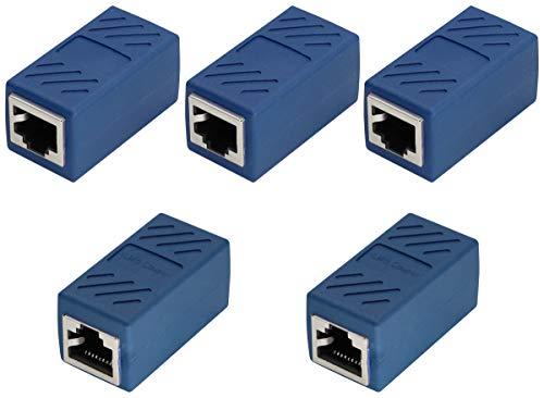 AAOTOKK RJ45 Acoplador Cable Red Adaptador RJ45 Hembra a Hembra Ethernet Conector LAN para Cat6 Cat5e en Línea Cable Acoplador Ethernet Macho(Azul-5 Unidades)
