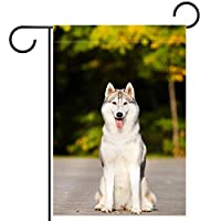 ガーデンサイン庭の装飾屋外バナー垂直旗動物ハスキー犬 オールシーズンダブルレイヤー