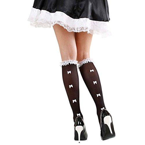 NET TOYS Dienstmädchen Strümpfe Maid Kniestrümpfe mit Schleifen und Rüschen Zimmermädchen Nylonstrümpfe Hausmädchen Nylons Schleifchen Damenstrümpfe Cosplay Kostüm Accessoires