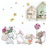 Little Deco Wandtattoo Babyzimmer Hasenfamilie und Maus I S - 62 x 43 cm (BxH) I Lolli Sterne Kinderbilder Deko Kinderzimmer Mädchen Aufkleber Sticker DL231