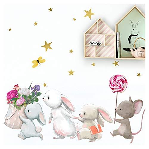Little Deco Wandtattoo Babyzimmer Hasenfamilie und Maus I L - 173 x 120 cm (BxH) I Lolli Sterne Kinderbilder Deko Kinderzimmer Mädchen Aufkleber Sticker DL231