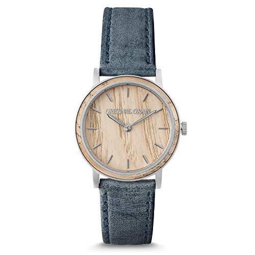Original Grain Women's Luxury Wood Watch | Avalon Collection 34MM | Analog Watch | Wood & Stainless Steel Watch | Japanese Quartz Movement | Celeste White Ash Wood