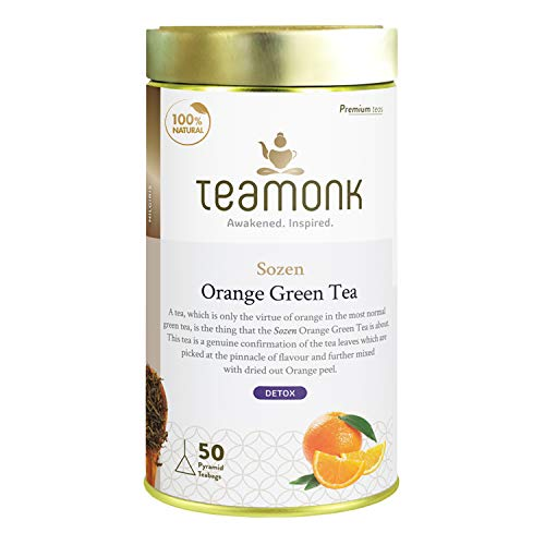 Teamonk Sozen High Mountain Orange Green Tea Bags - 50 Tea Bags | 100% Natural Orange Tea | Orange Tea for Detoxification | Boosts Metabolism | Detox Tea | Natural Fruit Tea | No Additives