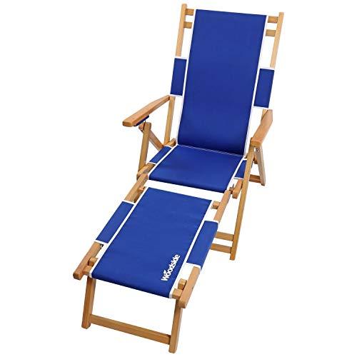 Woodside Southwold Sun Lounger, Folding Wooden Beach/Garden Chair with Footrest, Blue