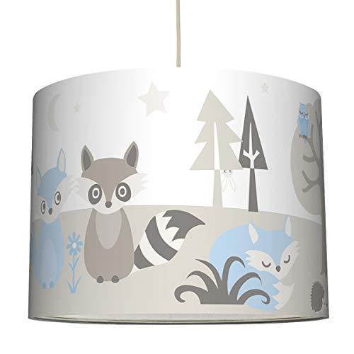 Anna Wand Hängelampe Little Wood HELLBLAU/GRAU BEIGE – Lampenschirm für Kinder/Baby Lampe mit Waldtieren – Sanftes Kinderzimmer Licht Mädchen & Junge – ø 40 x 30 cm