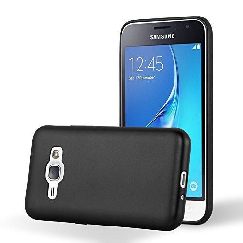 Cadorabo Funda para Samsung Galaxy J1 2016 en Metallic Negro - Cubierta Proteccíon de Silicona TPU Delgada e Flexible con Antichoque - Gel Case Cover Carcasa Ligera