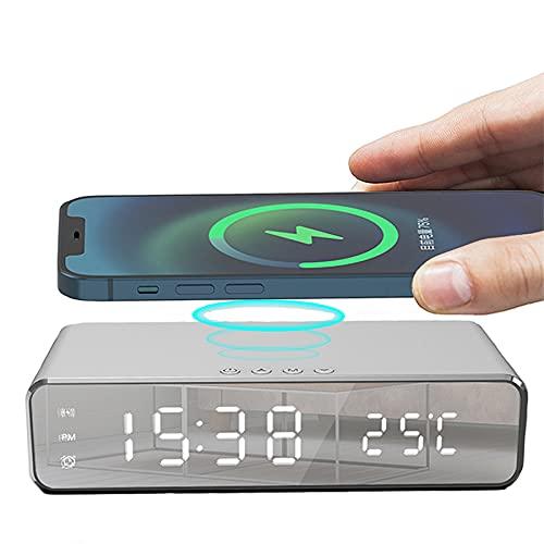 Lonferuo Despertador digital inteligente de LED com carregador sem fio, termômetro e tempo, certificado Qi para quarto, reunião, viagem, dever de casa e mais (Prata)