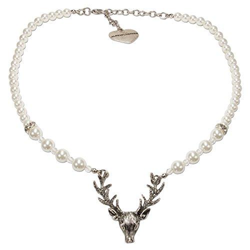 Alpenflüstern Perlen-Trachtenkette Hirsch - Damen-Trachtenschmuck mit Hirsch-Geweih, Elegante Dirndlkette Creme-weiß DHK203