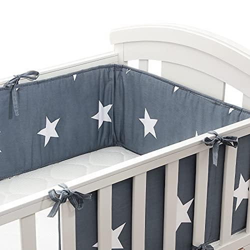 Bettumrandung Luchild Baby Nestchen für Babybett Babybett baby Nest Kopfschutz Nestchen babybettumrandung Kantenschutz Bettausstattung Sternchen Blau 210 x 28cm