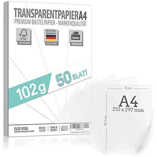 50 fogli di carta trasparente DIN A4 PREMIUM 102g per auto-stampa, artigianato - carta per lanterne - carta da lucido - carta da lucido, pellicola transfer per segnaposti e lanterne dalla Germania