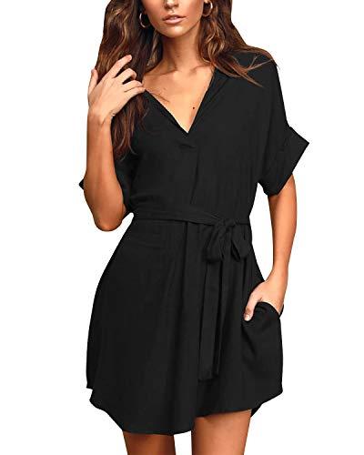YOINS Vestido Corto para Mujer Mini Vestidos de Verano Cuello en V Camiseta Manga Corta de Playa Negro S