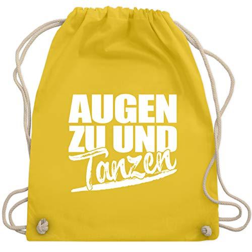 Shirtracer Festival Turnbeutel - Augen zu und tanzen - Weiß - Unisize - Gelb - augen zu und tanz turnbeutel - WM110 - Turnbeutel und Stoffbeutel aus Baumwolle