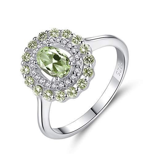 Esberry Prinzessin Diana William Kate Ring Verlobungsring damenring 925 Sterling Silber Eingelegter Olivgrüner Natürlicher Synthetischer Edelstein Ring Mehrere Größenoptionen