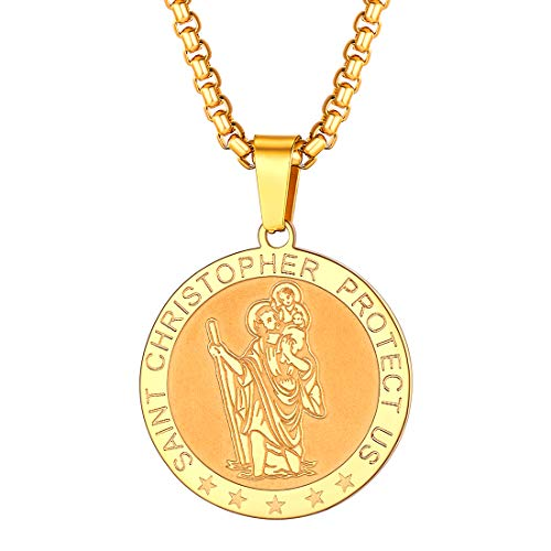 U7 Saint Christopher Pewter Travel Pendant on 24 Inch Stainless Steel Chain Gift for Men Women St Christopher Medal Necklaces