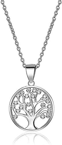 Collar Collar de plata 925 - árbol de la vida - simple colgante redondo de árbol de la suerte - collar con incrustaciones de árbol de deseos para hombres y mujeres Día de San Valentín para mujeres hom