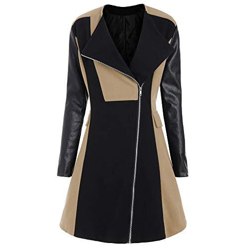 LISTHA Leather Jacket Coat Plus Size Women Winter Woolen Long Overcoat Outwear Khaki