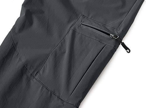 BASUDAM Men's Cargo Hiking Pants Quick Dry Lightweight Stretch Water Resistant Fishing Pants with Pockets Dark Grey 32