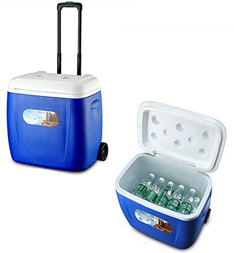 Caja fresca Caja portátil Caja fresca aislada grande, caja de hielo PVC para bebidas Viajar al aire libre, bolso de enfriador de camping blue-38L